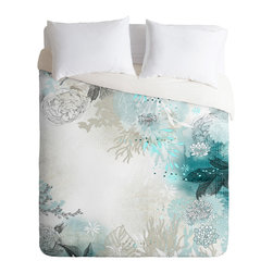 DENY Designs - Iveta Abolina Seafoam Duvet Cover - Turn your basic, boring down comforter into the super stylish focal point of your bedroom. Our Luxe Duvet is made from a heavy-weight luxurious woven polyester with a 50% cotton/50% polyester cream bottom. It also includes a hidden zipper with interior corner ties to secure your comforter. it's comfy, fade-resistant, and custom printed for each and every customer.