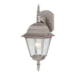 Westinghouse - Westinghouse Outdoor Lanterns. 1-Light Antique Silver on Cast Aluminum Exterior - Shop for Lighting & Fans at The Home Depot. This Westinghouse wall lantern features an antique silver finish on cast aluminum for colonial appeal. The clear water glass panels impart an aged quality that adds to the lantern's antique character. This lantern also features a smooth tapered arm, back plate, and prominent finial accent at the top and bottom. Install this traditional lantern in your front or back entryway, or by your garage door, deck area, patio, balcony, or side entrance. Wherever you mount it, you will enjoy the lantern's inviting light and traditional look. The lantern is 15-3/4 in. x 6 in. (H x W), it extends 6-3/4 in. from the wall, and it measures 4 in. high from the center of the outlet box. The back plate measures 5-7/8 in. x 4-1/2 in. (H x W). This Westinghouse lantern is UL listed for safety. It is backed by a 5-year warranty against defects in materials and workmanship.