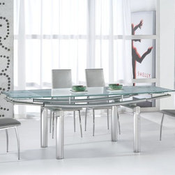 Extendable Recangular Frosted Glass Top Leather Modern Dining Set with Leaf - Serenity ultra modern glass and tube extendable dining room set. This Extreme-Modern and stylish Dining Room Set 'Serenity' introduces beautiful frosted glass top Dining Table and Side Chairs which will fill your home with atmosphere of sophistication and cutting edge contemporary design.