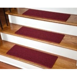 "Dean Flooring Company - Dean DIY Carpet Stair Treads 23"" x 8"" - Red - Set of 13 Plus Double-Sided Tape - Dean DIY Carpet Stair Treads 23"" x 8"" - Red - Set of 13 Plus Double-Sided Tape : Quality, Stylish Carpet Stair Treads by Dean Flooring Company Extend the life of your high traffic hardwood stairs. Reduce slips/increase traction (your treads must be attached securely to your stairs). Cut down on track-in dirt. Great for pets and pet owners. Helps your dog easily navigate your slippery staircase. 100% Polypropylene. Set includes 13 carpet stair treads PLUS one roll of double-sided carpet tape for easy, do-it-yourself installation. Each tread is bound around the edges. No bulky fastening strips. You may remove your treads for cleaning and re-attach them when you are done. Add a touch of warmth and style and a fresh new look to your stairs today with new carpet stair treads from Dean Flooring Company! This product is designed, manufactured, and sold exclusively by Dean Flooring Company."
