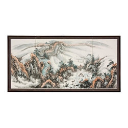 Oriental Unlimted - Mountaintop Landscape Hand Painted Silk Scree - Screens may vary slightly in colorMountaintop Landscape rendition is extraordinary, with ink detailed trees and cliffs in the foreground, and faraway peaks fading into the backgroundLarge (3ft. x 6ft.), hand painted ink and watercolor silk screenSong dynasty (10th century China) brush art styleCrafted from silk covered paper, glued over four side-by-side lacquered wood framesMatted with a fine Chinese silk brocade borderComes with lacquered brass geometric hangers for easy mountingCan be displayed as a privacy screen, partly folded to stand upright on a table or floorNote that no two renderings are exactly the sameSubtle, beautiful hand painted wall art for a fraction of the cost of a comparable print72 in. W x 5/8 in. D x 36 in. H