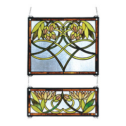 "Meyda Tiffany - 21""W X 26""H Waterlily 2 Pieces Stained Glass Window - Meyda Tiffany's Water Lily window is an original design with art nouveau influence. Handcrafted utilizing the copper foil construction process and stained art glass encased in a solid brass frame, each window is a unique creation. Mounting bracket and jack chain included."