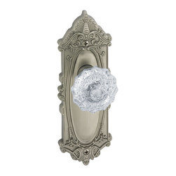 """Grandeur Decorative - Grande Victorian Plate With Fontainebleau Knob - The Grande Victorian Plate With Fontainebleau Knob is truly elegant. The free-flowing movement of light though the crystal knob heightens the grace of the piece. The Grande Victorian Plate features luxurious detailing that exudes richness. This knobset is not for people who want to make a simple statement—its ornate styling is perfect for fancier home décors. It will fit doors 1-3/4"""" to 2-1/4"""" thick with a 2-3/8"""" or 2-3/4"""" backset. Available in dummy, passage, and privacy functions."""