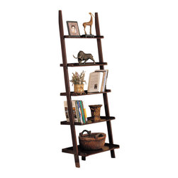 Adarn Inc - Casual Walnut Wood Wall Shelf with 5 Storage Shelves Bookcase Bookshelf - This listing is for 1 Piece of Wall Shelf e only. Other decorations are NOT included. Brand new in original boxes and some simple assembly required.A five shelf painters' bench design is provided by This wall shelf.