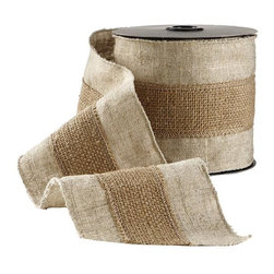 Home Decorators Collection - Natural Burlap Ribbon with Stripe - Our Natural Burlap Ribbon with Stripe offers a simple way to dress up your holiday decor with traditional, homespun style. This decorative ribbon is crafted of burlap in two different natural tones and two different weaves. The center stripe features a deeper color and coarser texture. Made of burlap. Offers the warm textural feel of fabric.