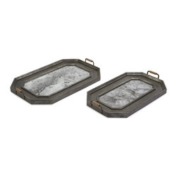 iMax - iMax Victoria Vintage Trays - Set of 2 X-2-80901 - Antiqued, tarnished metal give this set of two trays the perfect patina. Beautiful and functional, these trays make a great addition to your decor.