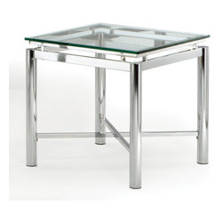 Steve Silver - Nova End Table - Glass Top - Bring perfection and brilliance to your home with the Nova End Table. A glass top and chrome x pattern base will make this collection your rooms centerpiece for years to come.