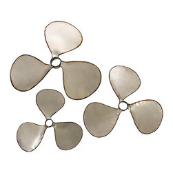 iMax - iMax Pelham Propeller Wall Decor - Set of 3 X-3-35274 - Vintage boat propellers add an industrial element to any home. This set of Pelham Propellers are made from a sleek sliver metal finish and add a nostalgic conversation piece!