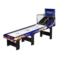 Hathaway Hot Shot 8 ft. Skee Ball Table - When looking back at the best times had at the arcade, it's not the stuffed animals and trinkets you earned with those tickets that come to mind, it's the fun of the games themselves! The Hathaway Hot Shot 8 ft. Skee Ball Table brings the thrill of your favorite game home to the whole family! Let's face it, arcades are few and far between and skee ball is a better bonding experience than any video game! Plus this rugged MDF and ABS game with neon blue and bright flame graphics will look amazing in your home game room! This super fun table comes with six rubberized game balls, an automatic ball return system, and electronic scoring so you'll always know who's in the lead. Requires 4-AA batteries sold separately.