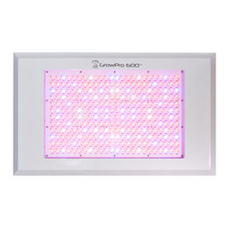 GrowPRO 600 LED Grow Light - GrowPRO 600 LED Grow Light - The commercial grade GrowPro 600 LED grow light exceeds the output of a 1000 watt metal halide or HPS lamp. Featuring massive, multi-watt LEDs and broad spectrum coverage for a 25 sq ft garden, plants grown under the GrowPro 600 produce lush leaves with big fruits and flowers.