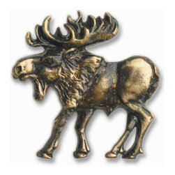 Buck Snort Lodge - Walking Moose Cabinet Hardware Knob Left Facing - Walking  Moose  Cabinet  Hardware  Knob  -  Left  Facing  -  This  clear  coated  rustic  wildlife  hardware  brings  nature  indoors.  When  adding  the  majestic  moose  to  your  design,  consider  coordinating  with  wildlife  fabric  patterns,  leather  chairs  and  rough  hewn  wood  pieces  for  a  real  designer  effect.  Pair  with  opposite  facing  knob  to  create  a  fully  coordinated  design.  Available  in  five  finishes:  Antique  Brass  (AB),  Antique  Copper  (AC),  Pewter  (P),  Bright  Nickel  (N),  and  Oil  Rubbed  Bronze  (ORB).                  Features  one-piece  solid  cast  zinc  construction  which  is  then  plated  and  sealed  with  a  baked  on  lacquer  finish.              Includes  mounting  hardware              Measures  2-3/8W  x  2-1/8H  x  3/4D              Allow  2-3  weeks  for  shipping