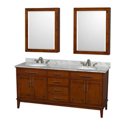 Wyndham Collection - Eco-Friendly Double Vanity Set - Includes white Carrera marble countertop with backsplash, two undermount oval porcelain sinks and two medicine cabinet mirrors. Faucets not included. Transitional style. 8 in. widespread three hole faucet mount. Four functional doors. Three functional deep doweled drawers. Single faucet hole mount. 12-stage wood preparation, sanding, painting and hand finishing process. Highly water-resistant low V.O.C. sealed finish. Plenty of storage and counter space. Practical floor standing design. Fully extending under-mount soft-close drawer slides. Concealed soft-close door hinges. Metal exterior hardware in brushed chrome. Engineered to prevent warping and last lifetime. Made from zero emissions solid birch hardwood. Light chestnut finish. Medicine cabinet mirror: 28 in. W x 6.25 in. D x 36 in. H. Countertop: 72 in. W x 22 in. D x 0.75 in. H. Backsplash: 72 in. W x 0.75 in. D x 3.25 in. H. Vanity: 70.75 in. W x 21.5 in. D x 34.25 in. H. Vanity with countertop: 72 in. W x 22 in. D x 35 in. H. Warranty. Care Instructions. Vanity Installation Instructions. Cabinet Installation Instructions. Counter Handling InstructionsBring feeling of texture and depth to your bath with the gorgeous Hatton vanity series. Contemporary classic for the most discerning of customers. The Wyndham Collection is entirely unique and innovative bath line. Sure to inspire imitators, the original Wyndham Collection sets new standards for design and construction.
