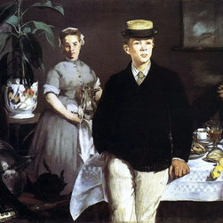 """Edouard Manet The Lucheon (The Luncheon in the Studio)  Print - 18"""" x 24"""" Edouard Manet The Lucheon (also known as The Luncheon in the Studio) premium archival print reproduced to meet museum quality standards. Our museum quality archival prints are produced using high-precision print technology for a more accurate reproduction printed on high quality, heavyweight matte presentation paper with fade-resistant, archival inks. Our progressive business model allows us to offer works of art to you at the best wholesale pricing, significantly less than art gallery prices, affordable to all. This line of artwork is produced with extra white border space (if you choose to have it framed, for your framer to work with to frame properly or utilize a larger mat and/or frame).  We present a comprehensive collection of exceptional art reproductions byEdouard Manet."""