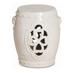 """The Ivory Company - Pierced Clover  Garden Stool - The clover is recognized as a symbol for good luck and fortune. This sturdy garden stool makes a perfect addition to your living space as a casual seat, side table, or clustered together to be used as a coffee table. White ceramic with a high-gloss finish.These exquisitely crafted pieces are a lovely way to accent your home. Inspired by different classic oriental styles these garden stools have become a modern day art form. These stools come in a large variety of styles and colors. We have selected ours for the distinctive design aesthetics they portray and the overall sense of scale and drama that they seem to convey. Enjoy these in and out of the house - they are wonderful accent pieces and go well with all types of decor.Measures 16x18.5""""H"""