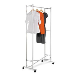 Square Tube Garment Rack- Chrome Folding - Honey-Can-Do GAR-01268 Chrome Folding Garment Rack. This space-saving garment rack is made from a sturdy steel frame and goes from room to room on smooth rolling swivel casters that easily lock in place. Perfect for additional clothes storage space or to hang garments to dry in the laundry room, this portable garment rack folds down to 1.5 inches flat when not in use.