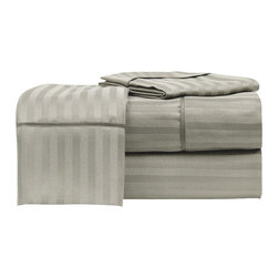 Hotel Collection Woven Dobby Stripe Microfiber Sheet Set  Full Taupe - Satin piping provides an elegant look to these contemporary sheets with a soothing and subtle striped pattern. Available in several charming colors, the microfiber set includes pillowcases and is machine washable for easy care.