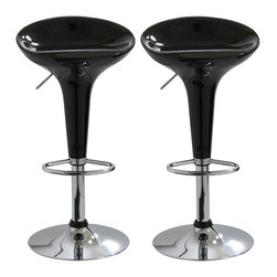 Buffalo Tools - AmeriHome 2 Piece Bar Stool Set - Black - 2 Piece Bar Stool Set - Black by AmeriHome Add a bit of whimsy to your kitchen, bar, game room, basement, or shop with the AmeriHome Bar Stool Set in glossy black. A sleek and fun silhouette with a polished mirror-like chrome base and a shiny black molded seat give them an ultramodern look.  These bar stools are designed with comfort in mind. With a large 14.75 inch wide molded ABS plastic 360 degree swivel seats, built in footrest, 3 inch backrest, and an adjustable seat height of 22 to 30 inches. Great features that make these bar stools comfortable for everyone.  Includes 2 black adjustable height bar stools Adjustable seat height from 22 to 30 in. Maximum seat back height of 33 in. 14.75 in. ABS plastic 360 degree swivel seat 330 lbs. weight capacity each