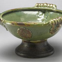 AA Importing - Leaf Design Ceramic Bowl in Green - Leaf design. Ceramic. Glazed finish. Pictured in Green. 16 in. D x 16 in. W x 9 in. H