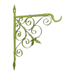 "Renovators Supply - Plant Hangers Green Wrought Iron Plant Hanger 10"" H 7"" Proj - This hook or hanger, is most popular in entryways, porch/fence posts etc. Great for hanging plants, lanterns or even a bird feeder. Decorative and stylish with our exclusive RSF protective finish for lasting protection. Made of hand forged wrought iron."