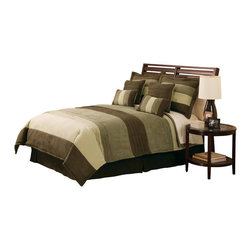 Pem America - Peyton Place King Comforter Set with 4 Bonus Pieces - Classic stripe and pleated pattern in micro suede in shades of green. Includes 1 king comforter 100x90 inches with two king shams (20x36 inches), bed skirt to fit mattress 76x86 inches. 4 BONUS PILLOWS: 2 16x16 inch and 2 12x16 inch. Face is 100% micro suede polyester. Filled with 100% Hypoallergenic Polyester Dry clean only.