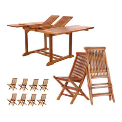 All Things Cedar - Teak Butterfly Set - This Promo Set Includes 6ft. Butterfly Extension Table + 8 TF22 Teak Folding Chairs. Item is made to order.