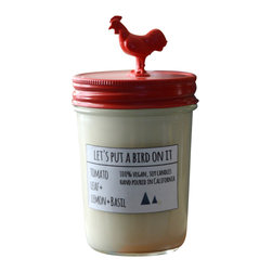 Let's Put a Bird On It - Red Rooster Soy Candle- Tomato Leaf - ABOUT THIS SCENT: