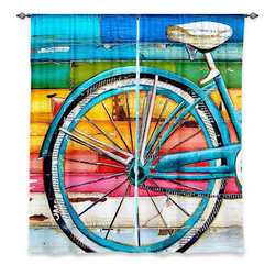 "DiaNoche Designs - Window Curtains Unlined - Danny Phillips Life Cycles - Purchasing window curtains just got easier and better! Create a designer look to any of your living spaces with our decorative and unique ""Unlined Window Curtains."" Perfect for the living room, dining room or bedroom, these artistic curtains are an easy and inexpensive way to add color and style when decorating your home.  This is a tight woven poly material that filters outside light and creates a privacy barrier.  Each package includes two easy-to-hang, 3 inch diameter pole-pocket curtain panels.  The width listed is the total measurement of the two panels.  Curtain rod sold separately. Easy care, machine wash cold, tumbles dry low, iron low if needed.  Made in USA and Imported."