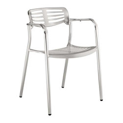 Modway - Toledo Dining Folding Chair in Silver - The unique appearance of the Ohio Indoor/Outdoor Accent Chair spurs the imaginative faculties into full gear. Containing a vision of the future already in the present; the time continuum is virtually one extension. Embody intangible wisps of thoughts into an inexhaustible fountain of creative momentum.