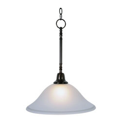"AF Lighting - AF Lighting Sonoma Oil Rubbed Bronze Single Light 20"" Hanging Ceiling Pendant - This is a brand new pendant light from AF Lighting (model # 617285). The Sonoma lighting collection will instantly brighten the décor of any room in your home. Sonoma chandeliers, pendants, ceiling fixtures, and vanity fixtures feature everything you'll need to create a complete home lighting ensemble with a look of refined elegance and majestic charm. With an oil rubbed bronze finish, frosted glass globe, and striking design, this downlight pendant provides unique character and regal allure. Uses (1) 60 Watt medium base bulb (not included). Pendant measures 15"" W by 20"" H. This pendant retails for $92.88."