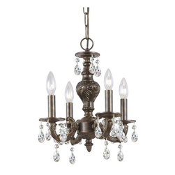 Crystorama Lighting - Crystorama Lighting 5024-VB-CL-MWP Sutton Transitional/Eclectic Mini Chandelier - Crystorama Lighting 5024-VB-CL-MWP Sutton Transitional / Eclectic Mini Chandelier in Venetian Bronze with Clear Hand Cut Crystal
