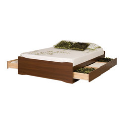 "Prepac Furniture - Prepac Medium Brown Walnut Coal Harbor Mate's Platform Storage Bed with 6 D - Expand the storage potential of your bedroom with the Platform Storage Bed with 6 Drawers. Use the six 18"" deep drawers (three on each side) included in this mas bed to stow away blankets, linens and anything else that wt quite fit into your other bedroom furniture, and conserve floor space while you're at it. You wt need a box spring, either, thanks to the slat support system that requires only a mattress. Constructed from CARB-compliant, laminated composite woods. Wood slats positioned length-wise distribute body weight evenly to ensure a good nigs sleep. Finger pulls at the bottom of each drawer front for easy opening.    This price is for Full Platform Storage Bed. Available also Queen size Platform Storage Bed."