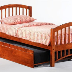 Night & Day Furniture - Molasses Twin Bed in Cherry w Trundle - Bed includes head/foot, rails, slats, trundle. 100% Malaysian Rubberwood construction. Warranty: 5 years. Cherry finish. 57 in. W x 80.6 in. D x 38.8 in. H (32.6 lbs.)Molasses. A good name for: The speed at which our kids get themselves into bed. Also works for: The speed at which our kids get themselves out of bed. And: That sweet, droopy feeling we get when sleep is pulling us down down down. About as good a name for a sleepy-time bed as we could think of.Take care of your kids' needs for beds, bunks and storage with our Zest Bedroom Collection for Night and Day. Smart quality at extraordinary value. We have gone to great lengths to design and engineer this complete line to keep your cost down and your pleasure up.