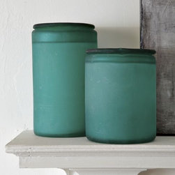 Sea Glass Containers - Recycled sea glass containers are great for corralling all the little things that seem to multiply.