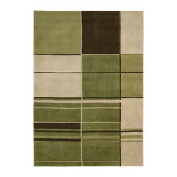 Nourison - Nourison Dimensions Green Contemporary Geometric 8' x 11' Rug by RugLots - Bold, rich colors and dramatic geometric designs are expertly handmade from 100% wool for Nourison's Dimensions Collection. Make a statement in any setting with one of these visually appealing area rugs with a modern sensibility. Hand carved for added dimension and depth they are sure to enhance the decor and furnishings in any room of your home.