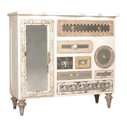 "Guildmaster - Mirror Mosaic Chest by Guildmaster - From shabby chic to a boutique hotel, this ""can't miss it"" chest is a fantastic selection for the bedroom. Crafted of solid mahogany with a garden lattice white finish. A variety of unique hardware is attached to each antiqued mirror inset. (GM) 52"" wide x 48"" high x 20"" deep"