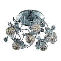 "PWG Lighting / Lighting By Pecaso - Geraldene 6-Light 18"" Crystal Flush Mount 1763F18C-EC - The Geraldene Collection adds a touch of whimsy to interiors. Clusters of crystal flowers sparkle on delicately designed chrome finished frames."