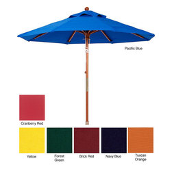 None - Premium 9-foot Round Wood Patio Umbrella - Stay cool and comfortable outdoors with this brightly colored round patio umbrella. With a diameter of nine feet,the shade can protect a table or several lounge chairs from the sun's rays. These stylish umbrellas combine fun with functionality.
