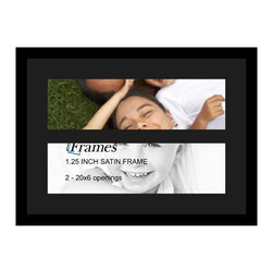 ArtToFrames - ArtToFrames Collage Photo Frame  with 2 - 6x20 Openings and Satin Black Frame - Your one-of-a-kind photos deserve one-of-a-kind frames, but visiting a custom frame shop can be time consuming and expensive. ArtToFrames extensive and growing line of inexpensive multi opening Photo Mats will get you the look you want at a price you can afford. Our Photo Mats come in a variety of sizes and colors and can be custom made to your needs. Frame choices range from traditional to contemporary, with both single and multiple photo opening mat options. With our large selection of custom frame and mat choices, the design possibilities are limitless. When you're done, you'll have a unique custom framed photo that will look like you spent a fortune at a frame shop. Your frame will be delivered directly to your front door or sent as a gift straight to your recipient.