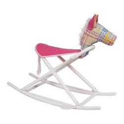 Hoohobbers Rocking Horse - Pink - Now you can finally give your little girl that pony she wants with the Hoohobbers Rocking Horse - Pink. Whether she wants to ride indoors while watching a horse competition or outdoors on her own imaginary jumper course this water-safe rocking horse will support her in pretty pastel style and comfort. Lightweight yet incredibly sturdy this rocking horse boasts a solid polypropylene frame and adult-strength canvas seat. The horse's head is all foam so there are no hidden supports that a child could accidentally hit. The trapezoidal design is incredibly stable; the horse is 12 inches wide at the bottom by 6 inches at the seat to help your child keep his balance. Foot rests provide extra comfort and stability. This innovative rocking horse folds into a compact package for easy storage and transport and is the only horse to win the juvenile industry's Best Design Award.About HoohobbersBased in Chicago Hoohobbers has designed and manufactured its own line of products since 1981 beginning with the now-classic junior director's chair. Hoohobbers makes both hard goods (furniture) and soft goods. Hoohobbers' hard goods are not your typical furniture products; they fold are lightweight and portable and are made to be carried by children all around the house. Even outdoors Hoohobbers' hard goods are 100 percent water-safe. At the same time they are plenty durable and can take the abuse children often give. Hoohobbers' soft goods are fabric items ranging from bibs to bedding from art smocks to Moses baskets.Hoohobbers' products are recognized by independent third parties for their quality and performance. Hoohobbers has received Best Design Awards from America's Juvenile Products Association each time selected from more than 20 000 products. Hoohobbers has also received the Parents' Choice Award and no Hoohobbers product has ever been subject to consumer recall. Furthermore the company's products are often featured in leading women's and childr