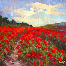 Original Landscape Painting, Poppies - The painting I painted on plein air. This is an original piece.