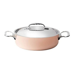 """de Buyer - de Buyer Inocuivre Prima Matera Induction Casserole Pan with Lid 3.2 qt. - Prima Matera"""" 2 mm thickness ensures very rapid and uniform heat conduction through both bottom and sides. Prima matera is composed by a thick layer of copper and a stainless steel layer in the interior of the pan. Special innovative ferro-magnetic bottom ensure cookware is suitable for induction cooktops. Polished outside Pouring rim and the cast stainless steel ergonomic handle firmly riveted. No retinning required. Suitable for induction cooktops. Hand wash recommended. Dimensions: 10"""" diameter. Made in France."""
