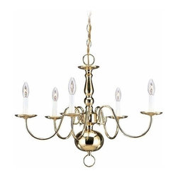 Sea Gull Lighting - 5-Light Chandelier Polished Brass - 3410-02 Sea Gull Lighting Traditional 5-Light Chandelier with a Polished Brass Finish