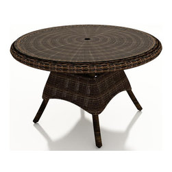 """Forever Patio - Leona 48 in. Round Wicker Dining Table, Mocha Wicker - Outdoor dining is at its most elegant with the Forever Patio Leona Outdoor Rattan 48"""" Round K/D Dining Table with Glass Top (SKU FP-LEO-48RDT-MC). The mocha-colored wicker is UV-protected, and features two tones that give it a more natural, traditional look. Each strand of this outdoor wicker is made from High-Density Polyethylene (HDPE) and is infused with its rich color and UV-inhibitors that prevent cracking, chipping and fading ordinarily caused by sunlight. This resin wicker outdoor dining table is supported by thick-gauged, powder-coated aluminum frames that make it more durable than natural rattan. A beautiful tempered glass top is included, along with an umbrella hole so you can add your favorite shade to the dining table (umbrella not included)."""
