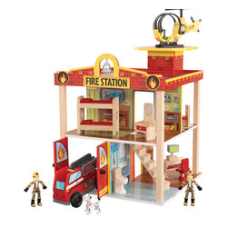 "KidKraft - Kidkraft Kids Children Home Indoor Pretend Play Toy Fire Station Set - Young boys and girls will love pretending they are real-life heroes with our adorable Fire Station. This play set is full of fun details like the helipad on the roof and garage doors that open and close. There's nothing as exciting as saving the day, so make sure you pick this set up for all the young adventurers in your life. Age Range: 3 Plus. Dimension: 16""x 16""x 17.76"""