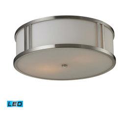 Elk Lighting - EL-11466/2-LED Flush Mounts LED 2-Light Flush Mount in Brushed Nickel - Opal white glass - LED, 800 lumens (1600 lumens total) with full scale dimming range, 60 watt (120 watt total)equivalent , 120V replaceable LED bulb included.