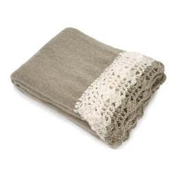 Belle & June - Brown Mohair with Crotchet Edge - This mohair throw is begging you to relax and cuddle up in your favorite armchair or couch. When not in use, drape it over your chair and the delicate crotched edge will add a stylish, luxe touch to your room.