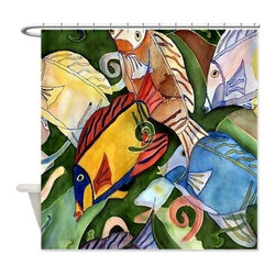 usa - Tropical Fish School Shower Curtain - Beautiful shower curtains created from my original art work. Each curtain is made of a thick water resistant polyester fabric. The permanently applied art work appears on the front side with the inside being white. 12 button holes for easy hanging, machine washable and most importantly made in the USA. Shower rod and rings not included. Size is a standard 70''x70''
