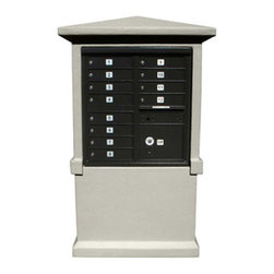 Qualarc, Inc. - Stucco CBU Mailbox Center, Short Pedestal (Column Only) in Slate Gray - Decorative Stucco CBU Mailbox Center