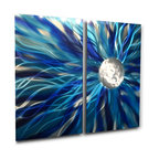 Miles Shay - Metal Wall Art Decor Abstract Contemporary Modern Sculpture- Solare Blue - This Abstract Metal Wall Art & Sculpture captures the interplay of the highlights and shadows and creates a new three dimensional sense of movement as your view it from different angles.