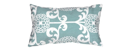 Pillow Decor - Pillow Decor - Waverly Fun Floret Spa 12 x 20 Throw Pillow - The Waverly Fun Floret Throw Pillow is a beautiful stylized floral print pattern. The pattern is a classic with a contemporary twist. This decorative throw pillow is tastefully feminine and modern. The pillow is made from a 100% cotton medium weight fabric and is finished with a color matched zipper. This inviting and fresh decorative throw pillow is a statement piece on its own but also coordinates well with solid color and simple pattern pillows.